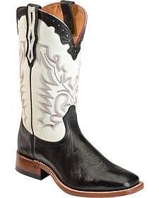 Boulet Men's White Stockman Cowboy Boots - Wide Square Toe
