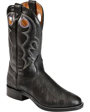 Boulet Black Roper Cowboy Boots - Round Toe