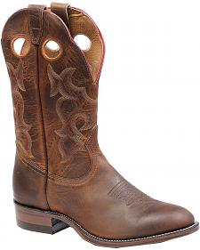 Boulet Chocolate Roper Cowboy Boots - Round Toe