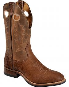 Boulet Cognac Roper Cowboy Boots - Round Toe