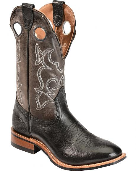 Boulet Grey Roper Cowboy Boots - Round Toe