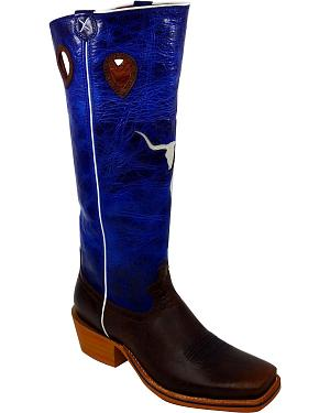 Twisted X Buckaroo Longhorn Inlay Cowboy Boots - Square Toe