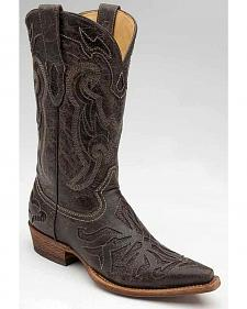 Corral Lizard Inlay Cowboy Boots - Snip Toe