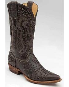 Corral Lizard Inlay Cowboy Boots - Snip Toe