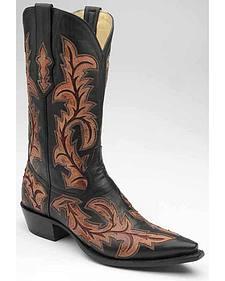 Corral Full Inlay Cowboy Boots - Snip Toe