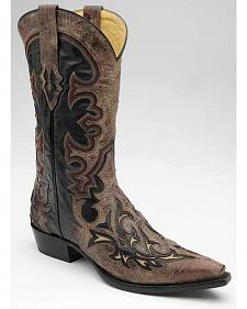 Corral Fancy Distressed Overlay Cowboy Boots - Snip Toe