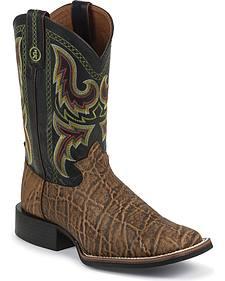 Tony Lama 3R Elephant Print Stockman Cowboy Boots - Square Toe