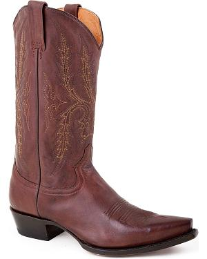 Stetson Fancy Stitched Cowboy Boots - Snip Toe