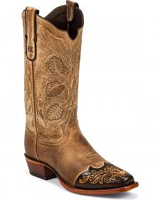 Tony Lama Hand Tooled Wingtip Travis Cowboy Boots - Snip Toe