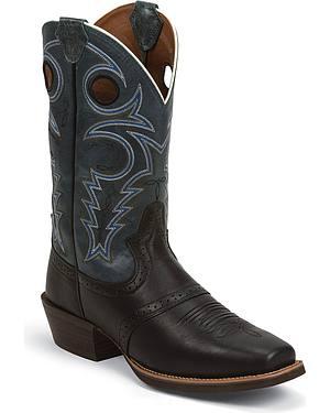 Justin Silver Punchy Saddle Vamp Cowboy Boots - Square Toe