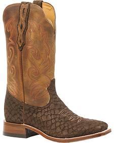 Boulet Croc Print Stockman Cowboy Boots - Square Toe