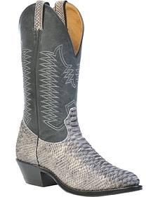 Boulet Snake Print Cowboy Boots - Medium Toe