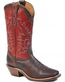 Boulet Fancy Stitched Cowboy Boots - Square Toe