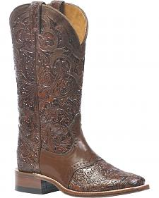 Boulet Floral Embossed Cowboy Boots - Square Toe