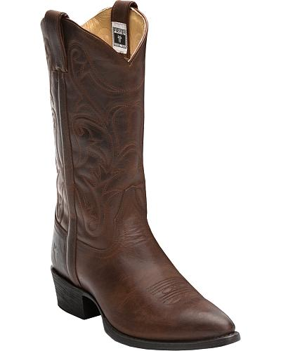 Frye Mens Bruce Pull-on Cowboy Boots Round Toe Western & Country 87694-TAN