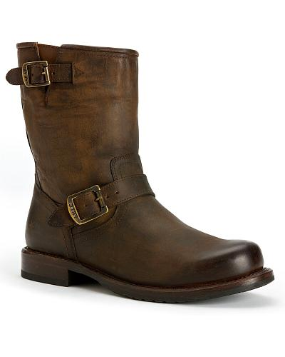 Frye Mens Wayde Engineer Pull-on Boots Round Toe Western & Country 87371-TAN