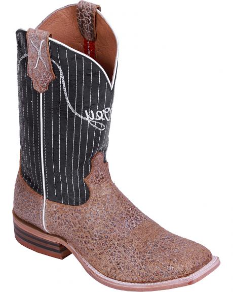Hooey by Twisted X Black Pinstripe Cowboy Boots - Wide Square Toe