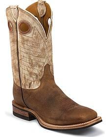 Justin Bent Rail Cowhide Cowboy Boots - Square Toe