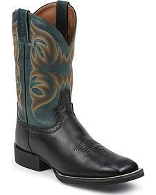 Justin Silver Deer Tan Buffalo Saddle Cowboy Boots - Square Toe