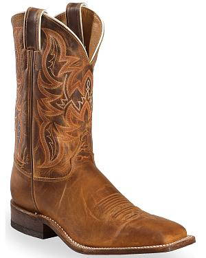 Justin Bent Rail Distressed Cognac Cowboy Boots - Square Toe