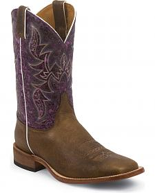 Justin Bent Rail Hazel Brown Cowboy Boots - Square Toe