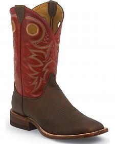 Justin Bent Rail Rough Rider Tobacco Cowboy Boots - Square Toe
