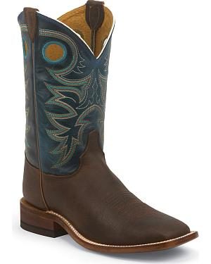 Justin Bent Rail Rough Rider Cowboy Boots - Square Toe