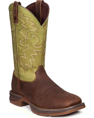 Durango Mens Rebel Coffee & Cactus Western Boots - Square Toe