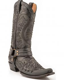 Stetson Outlaw Distressed Harness Riding Boots - Snip Toe