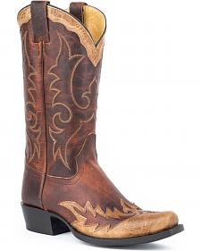 Stetson Brown Outlaw Wingtip Cowboy Boots - Square Toe