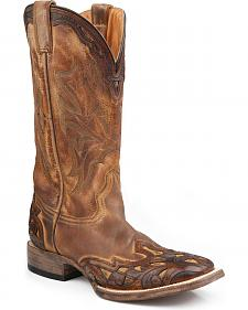 Stetson Hand Tooled Antique Oak Wingtip Boots - Wide Square Toe