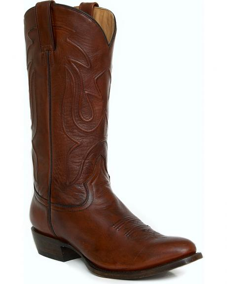 Stetson Burnished Brown Leather Cowboy Boots - Round Toe