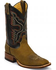 Justin Rugged Tan Gaucho Cowboy Boots - Square Toe