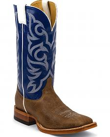 Justin Brown Delta Cowhide Cowboy Boots - Square Toe