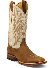 Justin Cognac Delta Cowboy Boots - Square Toe
