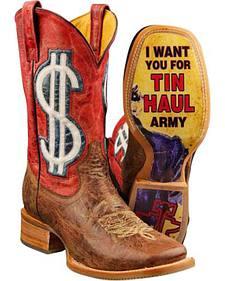 Tin Haul Mo' Money Uncle Sam Cowboy Boots - Square Toe