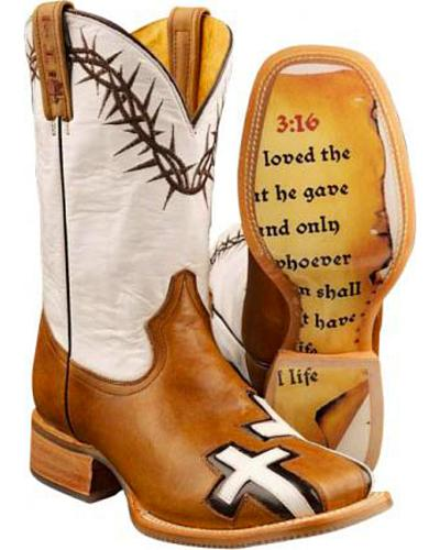 Tin Haul Between Two Thieves John 3:16 Cowboy Boots - Square Toe