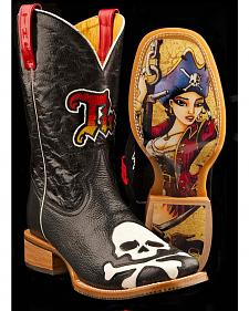 Tin Haul Skull and Crossbones Anchor Girl Cowboy Boots - Square Toe