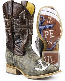 Tin Haul Hebrews 6:19 Anchor Cowboy Boots - Square Toe