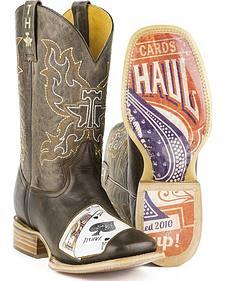 Tin Haul Men's Black Jack Cowboy Boots - Square Toe