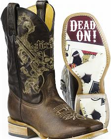 Tin Haul Outlaw Poker Cards Cowboy Boots - Square Toe