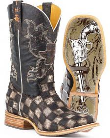 Tin Haul Men's Gunslinger Checkered Cowboy Boots - Square Toe