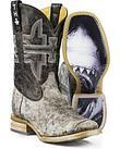 Tin Haul Mens Jawz Shark Bite Cowboy Boots - Square Toe