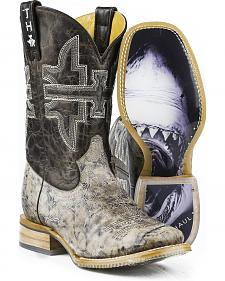 Tin Haul Men's Jawz Shark Bite Cowboy Boots - Square Toe