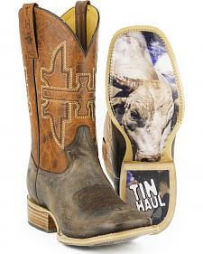 Tin Haul Men's Go Balls Out Cowboy Boots - Square Toe