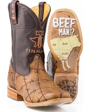 Tin Haul Barbed Wire Butcher Shop Cowboy Boots - Square Toe