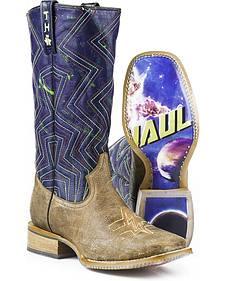 Tin Haul Phaser Black Hole Cowboy Boots - Square Toe