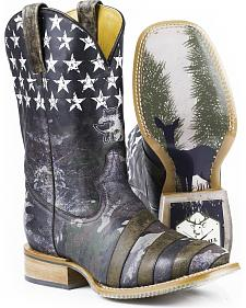 Tin Haul Camo Flag Hunt Club Cowboy Boots - Square Toe