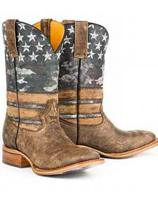 Tin Haul American Flag Dogtag Cowboy Boots - Square Toe