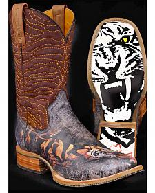 Tin Haul White Tiger Cowboy Boots - Square Toe